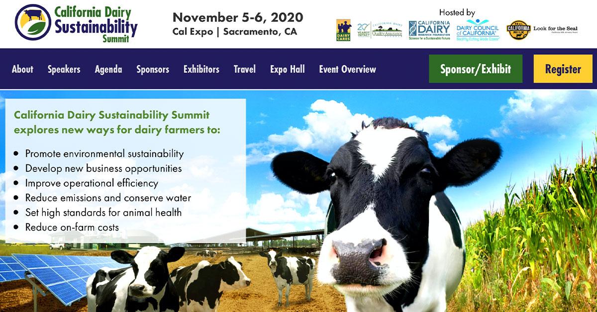 Screenshot of Dairy Sustainability Summit Website